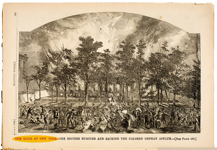 A drawing of the burning of New York's Colored Orphan Asylum